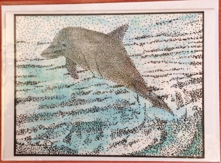 "LEAPING DOLPHIN - 5 x 7"" art card by artist Nina Struthers - GIN ONLY"