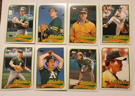 Collection of 8 Vintage Athletics A's Baseball Cards lot #49