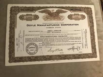 Doyle Manufacturing stock certificate 1948 made aircraft parts Went bankrupt