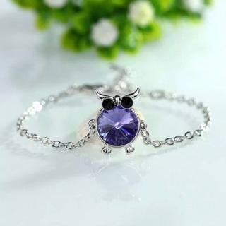 Purple Crystal Rhinestone Owl Bracelet