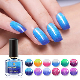 BORN PRETTY Color Changing Nail Polish Glitter Thermal Nail Varnish 12 Colors