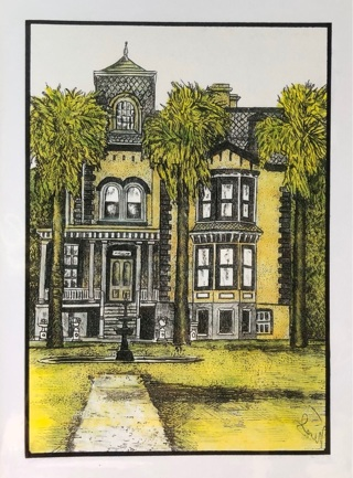 """Fulton Mansion, Texas  -  5 x 7"""" art card by artist Nina Struthers - GIN ONLY"""