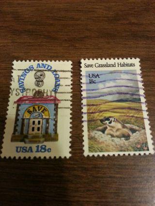 2 USA $0.18 stamps
