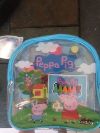 New peppa pig coloring set.playdoh and stamp set with plastic backback included
