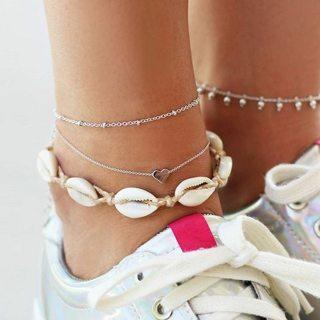 3Pcs Bohemian Retro Shell Heart Pendant Chain Silver Beach Anklet Set Women Fashion Exquisite