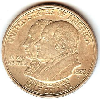 1923-S MONROE DOCTRINE CENTENNIAL COMMEMORATIVE HALF DOLLAR 90% SILVER