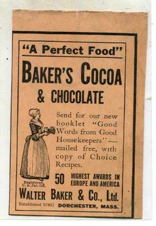 Late 1800's Bakers Chocolate Magazine Print Ad