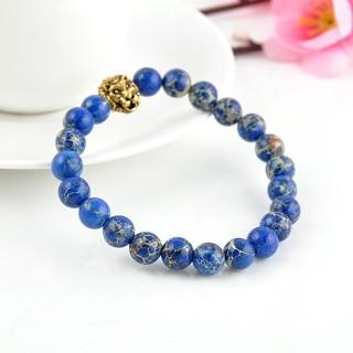 Bracelet Gold lion Pendant Sediment Blue Stone