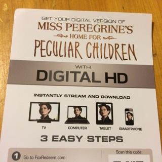 Miss Peregrine's Home for Peculiar Children Digital Copy