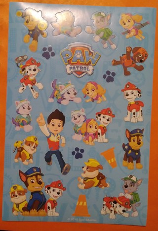 NEW-One sheet of PAW PATROL STICKERS