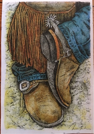 """COWBOY BOOTS! - 5 x 7"""" art card by artist Nina Struthers - GIN ONLY"""