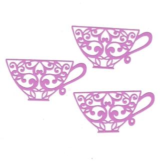 Purple Tea cup Die cut Embellishments - set of 3