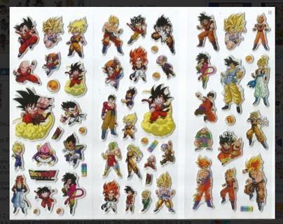 1 NEW Variety PACK DRAGON BALL Z Pop Up 3-D Stickers Winner FREE SHIPPING Anime Manga DBZ