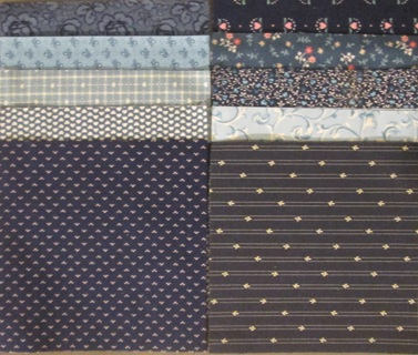 40 Fabric Charm Squares for Quilts - Blues