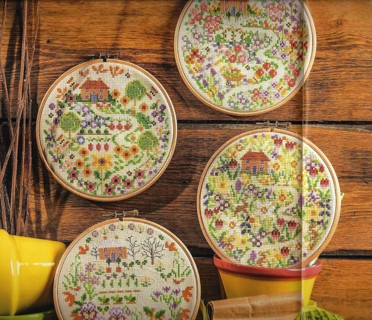 """NEW PATTERN~""""FOR ALL SEASONS""""~4 COUNTED X STITCH HOOPED PICTURES~FREE SHIP"""