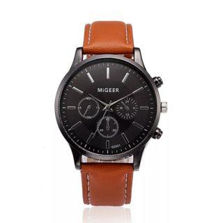 Luxury Watch Men Retro Leather Band Analog Alloy Quartz Wrist Watch