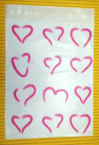 "7 PINK HEARTS 10"" x 13"" Poly Mailers"