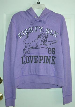 Victoria's Secret Love Pink Graphic Hoodie Pullover Sweatshirt Size Large! Read Description!
