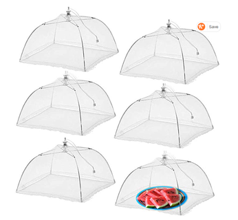 Simply Genius (6 pack) Large and Tall 17x17 Pop-Up Mesh Food Covers Tent Umbrella for Outdoors