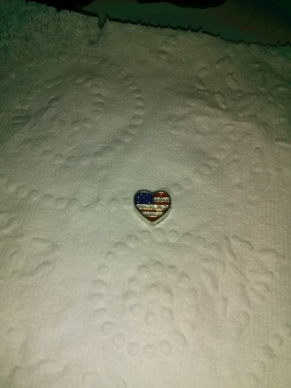 American Heart Shaped Flag Floating Charm