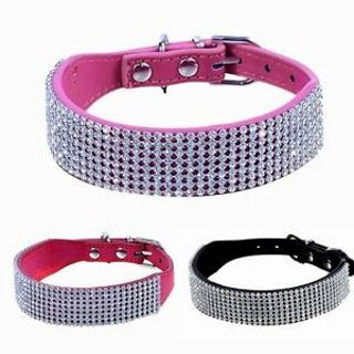 Dog Crystal Collars Bling PU Leather Neck Animals Collar Diamante Rhinestone