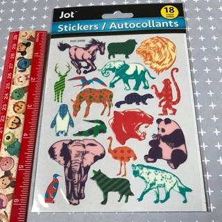 Wild Colorful Animals vinyl like sticker sheet NEW