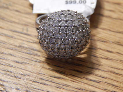 NEW BEAUTIFUL STERLING SILVER CZ CLUSTER RING SIZE 7