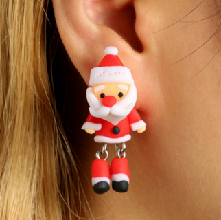 2 Pairs Women Earring 3D Red Christmas Santa