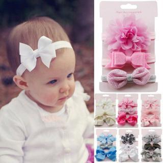 3pcs/Set Newborn Headband Ribbon Elastic Baby Headdress Kids Hair Band Girls Bow
