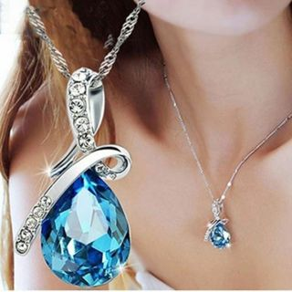 Silver Chain Crystal Rhinestone Pendant Necklace Jewelry