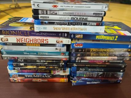 Huge lot of Blu rays and Dvds john wick, lord of the rings tvs Lost season 4 and more!!
