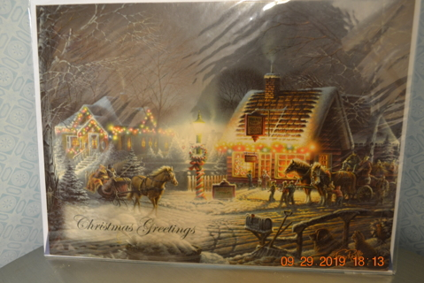 "****NIP BEAUTIFUL CHRISTMAS CARD #4 ""CHRISTMAS GREETINGS"" W/MATCHING ENVELOPE***FREE SHIPPING"