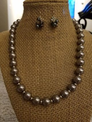 3 pc. gunmetal colored genuine & faux pearls set. Necklace faux, ring & earrings, genuine pearls