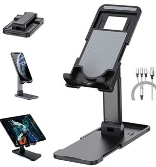 75% OFF!! Eranova Phone Stand Foldable Desk Phone Holder Adjustable Angle Height with Compact Mirror