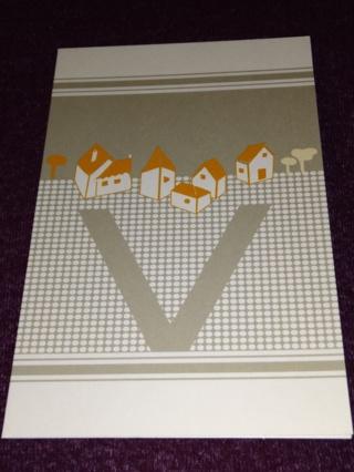 Alphabet Greeting Card - Village (V)