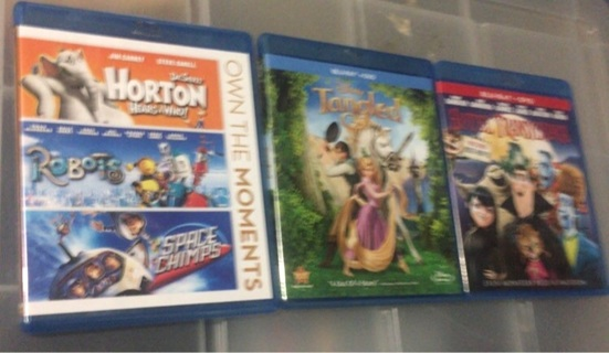 Blu Ray movie Lot Tangled Hotel Transylvania 3 pack set Space Chimps Robots Dr. Seuss's Horton