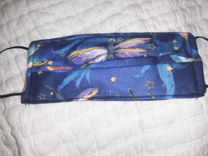 Blue dragonflies and stars face mask adult/teenager size