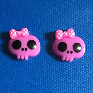 Purple Kawaii Girlie Skull Flatback Cabochons set of 2 NEW