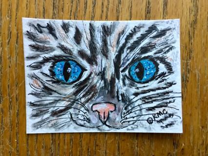 "Original Watercolor ACEO Art Trading Card ""Blue Eyes Black Cat"" by Award Winning Artist"