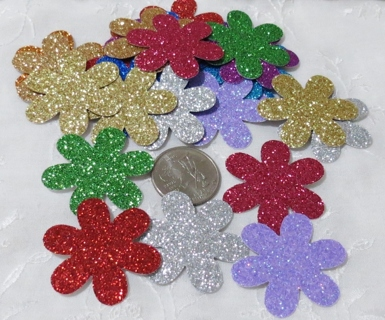 Large Glittery Cardstock Flower Die Cuts Bold Mix 20