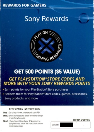 Free: 500 Sony Rewards Points From PS4 Movie Code - Other