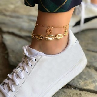Bohemian Multiple Layers Seashell Moon Star Earth Map Anklets for Women Vintage Boho Rope Chain