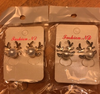 One Pair Either Gold Or Silver Tone Reindeer Antlers With Pearl and Rhinestones NIP