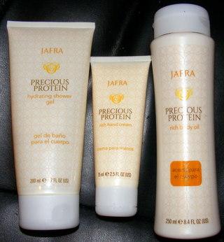 FREE: NEW in BOTTLES Jafra Precious Protein Body Oil, Lotion + Shower Gel Set