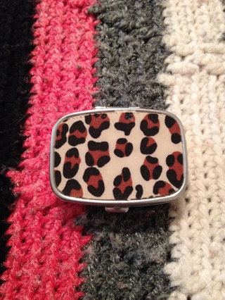 Cute lil leopard print pill carrying case! Free shipping!!!!!