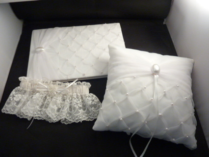 Lot of 3 New BRIDAL - Guest Book & Matching Pillow Plus Garter
