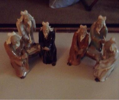 Vintage Oriental Clay Elder Figures