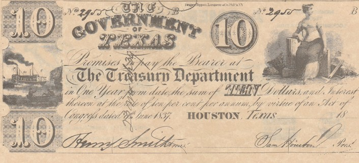 Reprint: Government of Texas Treasury Department $10 note