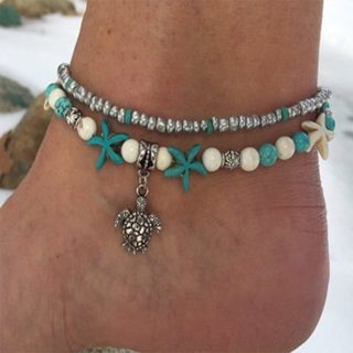 Punk Turtle Starfish Beads Gem Silver Pendant Double Layer Anklet Set Women Fashion Multilayer