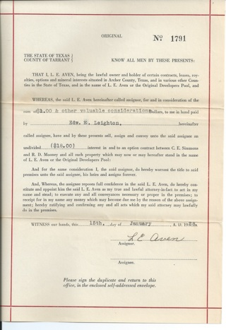 Archer County Texas Mineral Interests Option Contract 1928